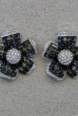 Jewelry Jardin: Clear & Charcoal Crystal Flower Med