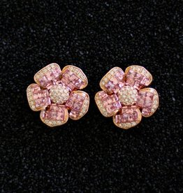 Jewelry Jardin: Clear & Pink Crystal Flower Med