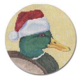 CBK Needlepoint Mallard w/Santa Hat ornament