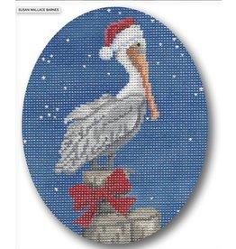 CBK Needlepoint Christmas Pelican ornament