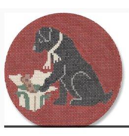 "CBK Needlepoint Labrador opening Xmas Present ornament<br /> 4.5"" Round"