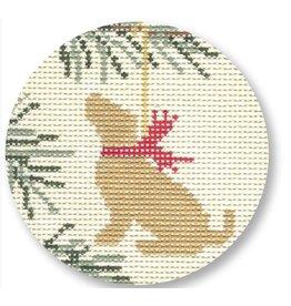 "CBK Needlepoint Yellow Lab Tree ornament<br /> 4.5"" Round"