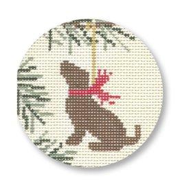 "CBK Needlepoint Chocolate Lab ornament<br /> 4.5"" Round"