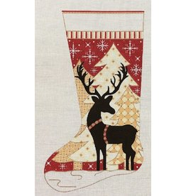 """Alice Peterson Reindeer in Trees Stocking<br /> 11"""" x 19"""""""