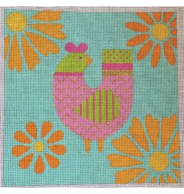 """Eye Candy Pink &amp; Lime bird w/Tourquoise background<br /> 6"""" x 6"""""""