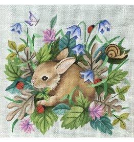 "Vallerie Bunny in the Garden<br /> 9"" x 9"
