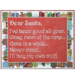 "CBK Needlepoint ""Dear Santa ~ I've been good…""<br /> 11.5"" x 9.5"""