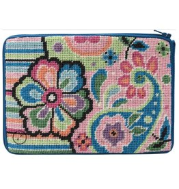 Alice Peterson Pastel Floral Paisley Cosmetic Purse