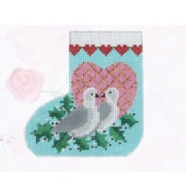 Shelly Tribbey Two Turtle Doves mini stocking on skates ornament