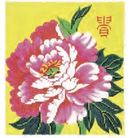 "Colonial Needle Pink Peony / Yellow Background<br /> 5"" x 6"""