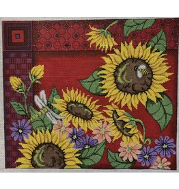 "Patti Mann Sun Flowers w/Red Background<br /> 14"" x 12"""