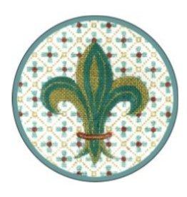 Fleur de Paris Teal Jewelry Bag with fleur de lei on Top
