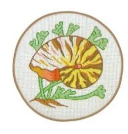 Fleur de Paris Tan Jewelry Bag with Snail Shell design on top