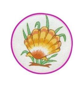 Fleur de Paris Peach Jewelry Bag with Shell design top