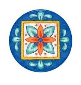 Fleur de Paris Blue/Green Jewelry Bag with Floral motif on top