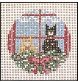Needle Crossing Christmas Cat ornament
