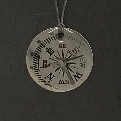 Compass Sterling Litho Necklace