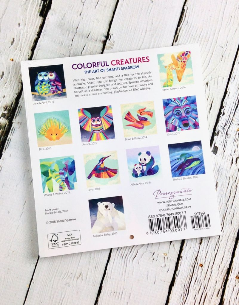 2019 Mini Wall Calendar: Colorful Creatures: The Art of Shanti Sparrow