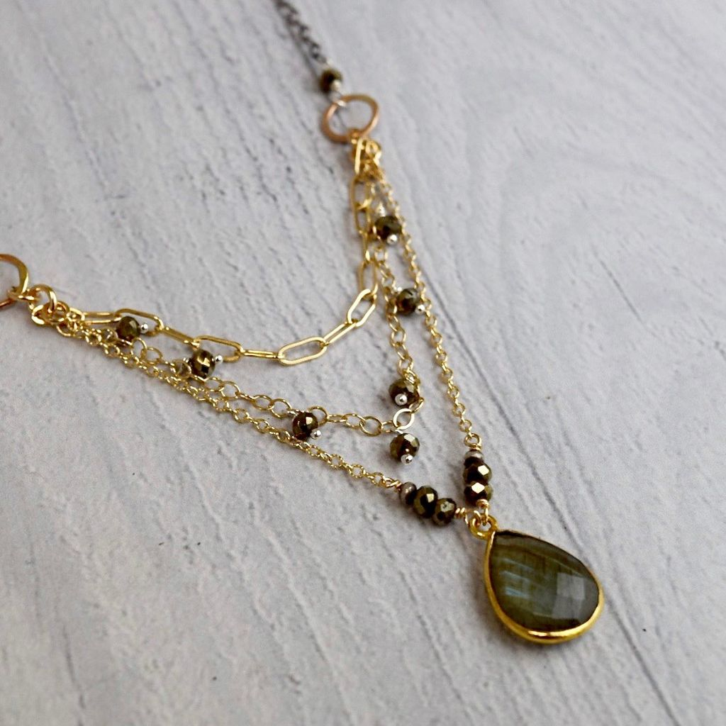 Handmade Faceted labradorite tear drop with pyrite, 14kt gold filled and sterling chain necklace – 21 inches plus 2″ adjustable extender