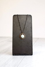 Handmade 14kt goldfilled circle and amazonite on oxidized chain