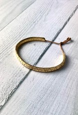 Handmade Metallic Leather Lariat Bracelet, Gold