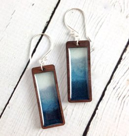 Handmade Storm Gradient Rectangle Earrings