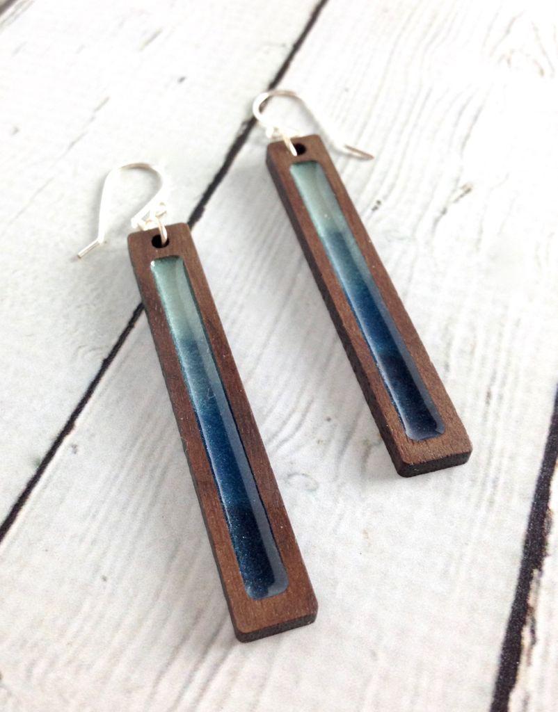 Handmade Storm Gradient Wood Earrings