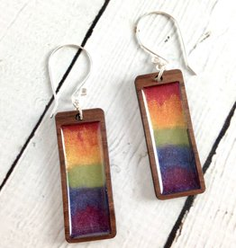 Handmade Rainbow Haze Gradient Rectangle Earrings