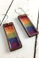 Handmade Rainbow Haze Gradient Rectangle Earrings