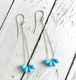 Sterling Silver Earrings with Semi Hoop of Faceted Sleeping Beauty Turquoise