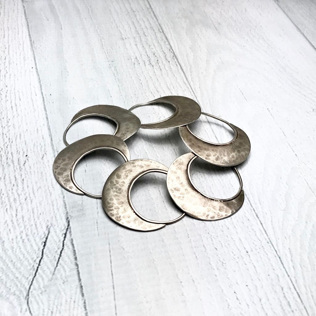 Handmade Sterling Silver Oxidized and textured open circle with solid halfmoon links bracelet by Julia Britell Designs