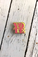 VOTE (Pink & Yellow) Enamel Pin