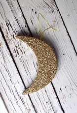 Moon Ornament with Gold Glitter