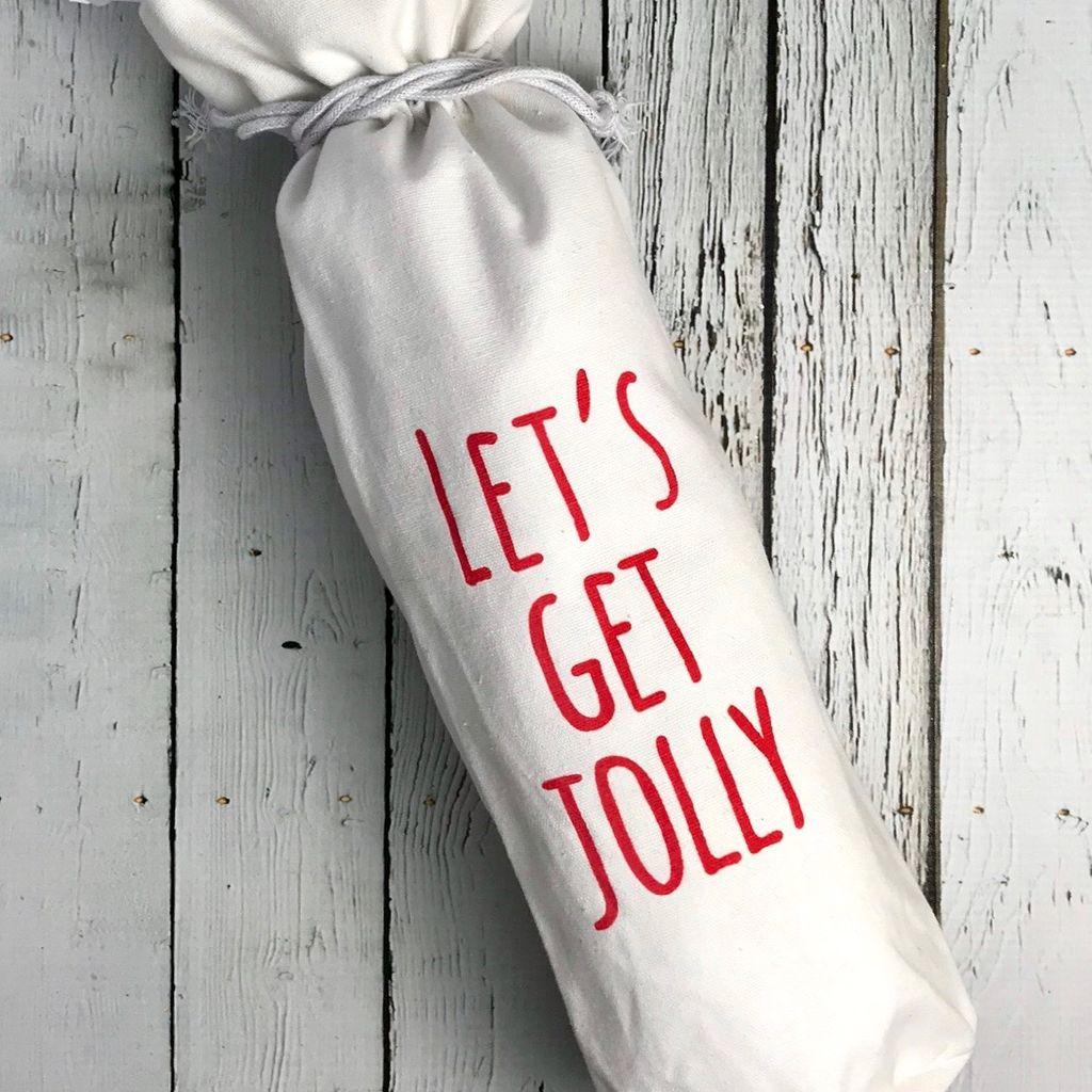 "13-1/2"" Fabric Drawstring Wine Bag w/ Words"
