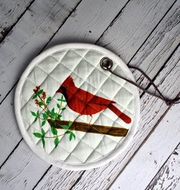 """8"""" Round Cotton Pot Holder Cardinal""""Let Your Heart Be Light"""""""