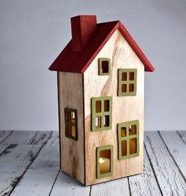 """5-1/2""""L x 8-1/2""""H  Wood House w/ LED Light"""