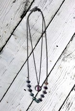 Handmade Oxidized  Sterling Silver Double Chain Necklace with Fluorite gemstones
