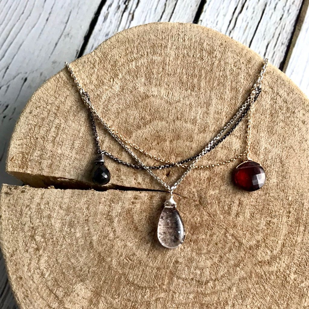 Handmade Sterling Silver, Oxidized Silver, and 14kt Goldfill Necklace with Garnets and Lepidochrosite