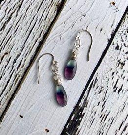 Handmade Silver Earrings with Fluorite, Moonstone