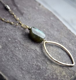 Handmade Hammered and etched open 14kt goldfill shape with faceted labradorite on sterling chain necklace – 20 inches plus 2″ adjustable extender