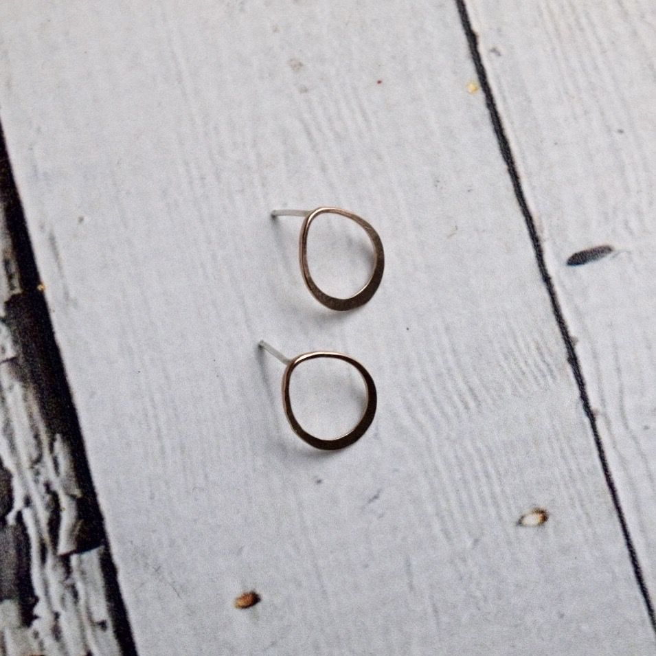 Handmade Post Earrings with 14kt goldfill teardrop