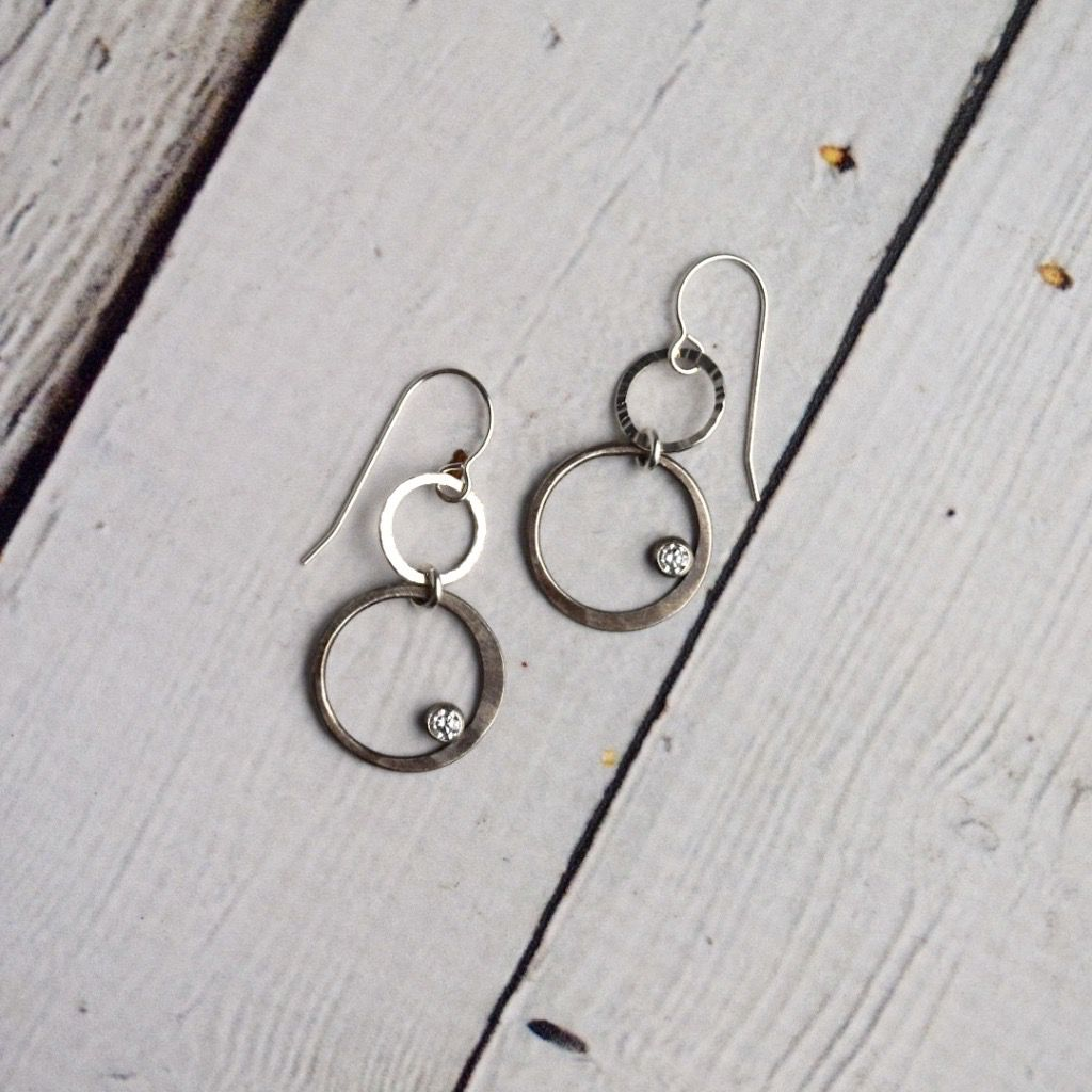 Handmade Earrings with Double Sterling Circle Drop with Bezel Set CZ