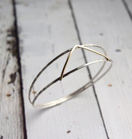 Handmade Sterling split bangle with 14kt gold filled V