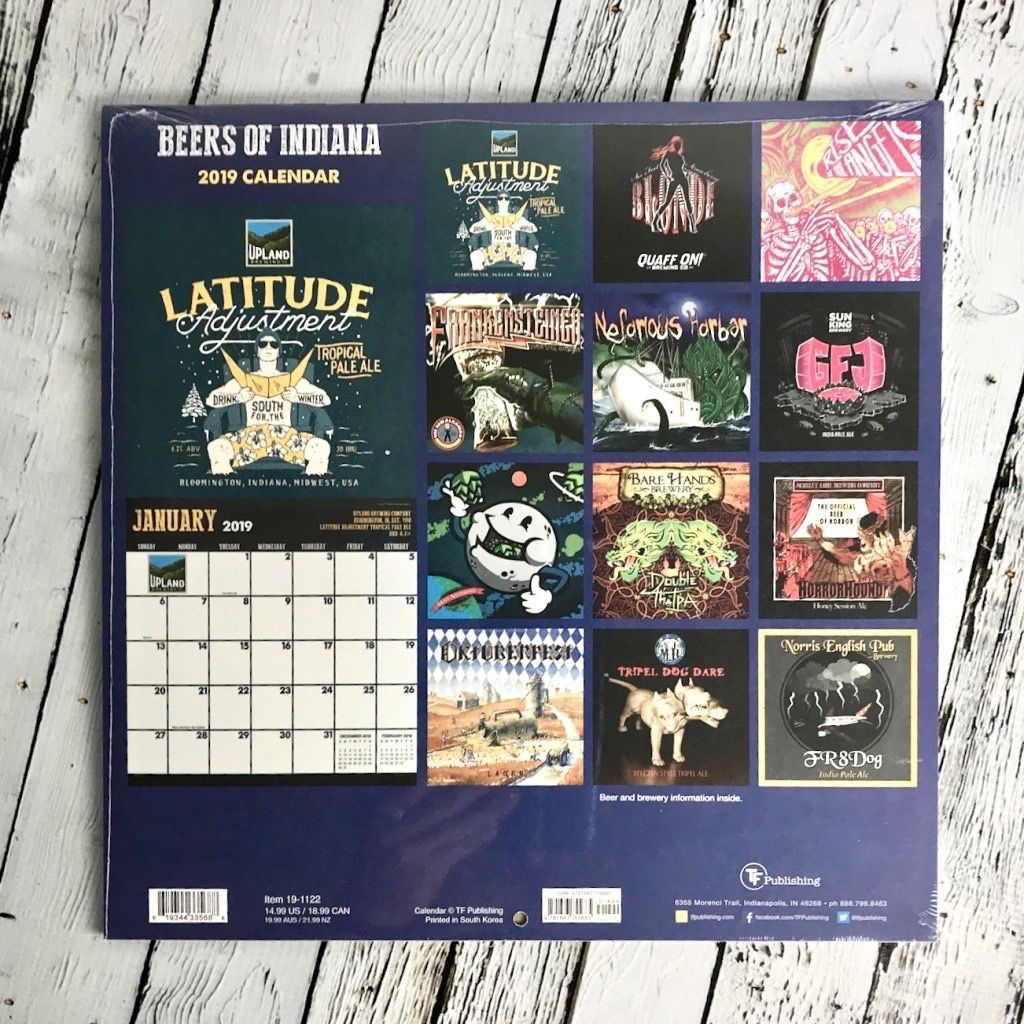 Beers of Indiana 2019 Calendar