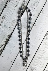 Antiqued Silver Double Strand Necklace with Labradorite and a Gray Pearl
