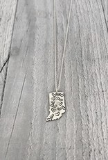Sterling Silver Handstamped Tiny Indiana with Heart Pattern Necklace, 18""