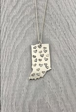 Sterling Silver Handstamped Large Indiana with Heart Pattern Necklace, 18""