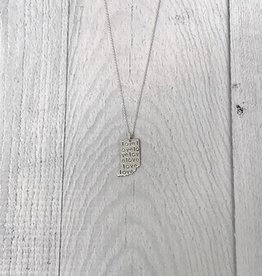 Sterling Silver Tiny Handstamped Indiana with Love Pattern Necklace, 18""