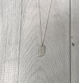 Sterling Silver Handstamped Tiny Indiana with XOXO Pattern Necklace, 18""