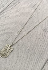"""Sterling Silver Handstamped Tiny Indiana with XOXO Pattern Necklace, 18"""""""